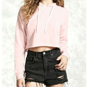Forever 21 Raw Edge Cropped Hoodie